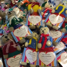 Care Bears being wrapped and given their birth certificates - ready for distribution!
