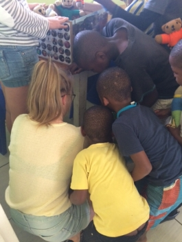 Excited children from the Pietermaritzburg Children's Home choosing their bears